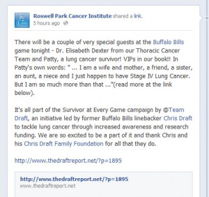 Roswell Park Cancer Institute Facebook Post Featuring Patty